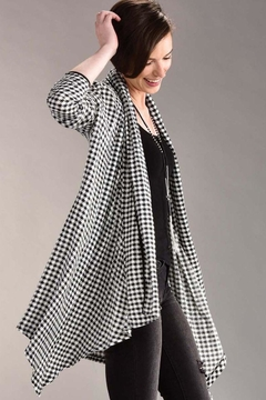 Charlie Paige Houndstooth High/low Cardigan - Product List Image