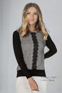 Shoptiques Product: Houndstooth & Lace Sweater