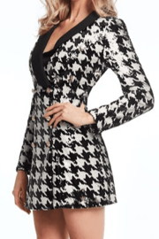 Alberto Makali Houndstooth Sequin Dress - Product Mini Image