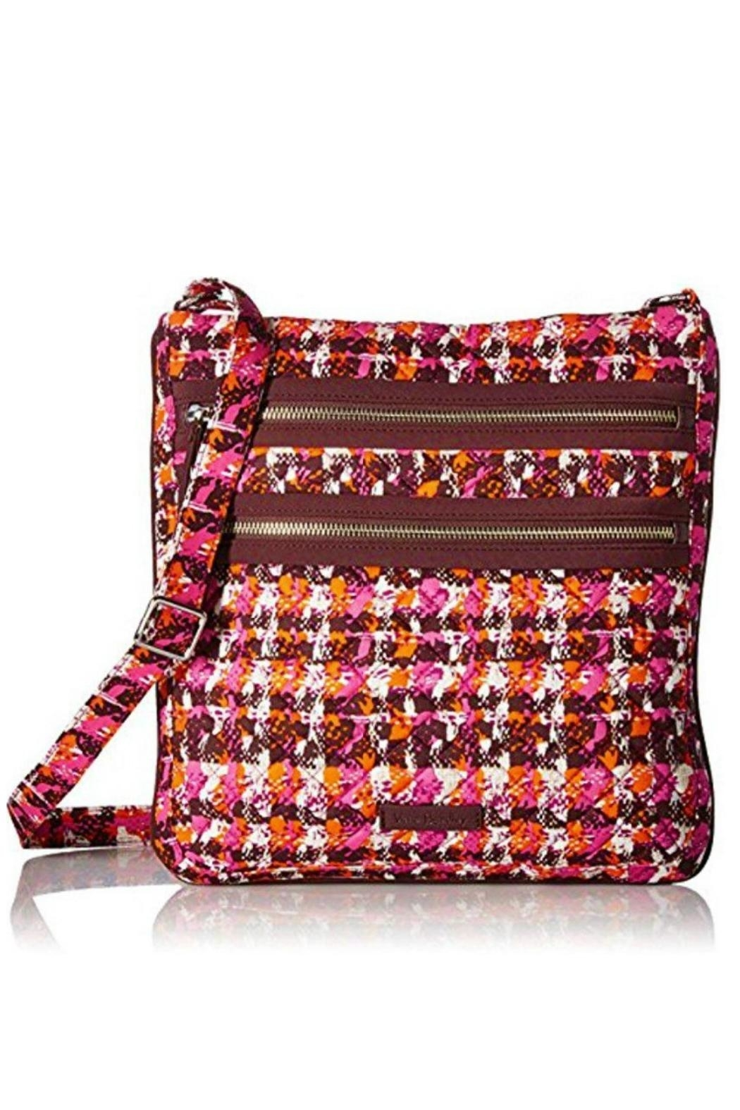 Vera Bradley Houndstooth Tweed Triple-Zip - Front Cropped Image