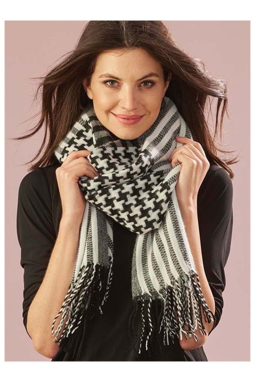 Charlie Paige Houndstooth  Woven Scarf - Main Image