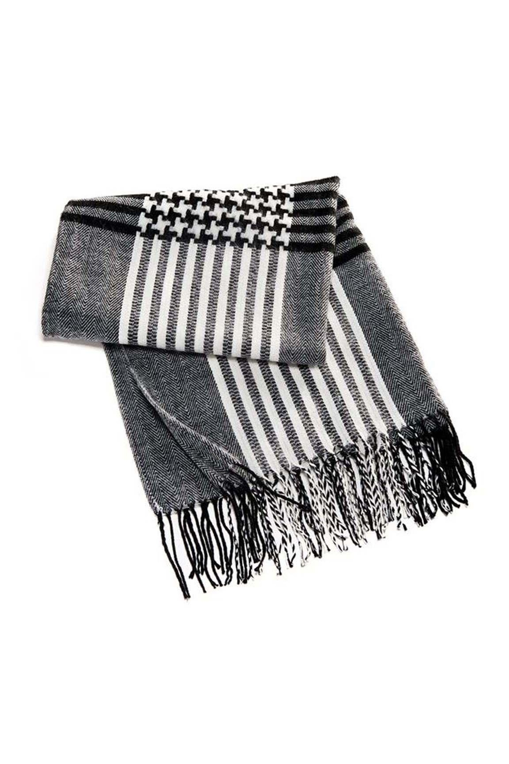 Charlie Paige Houndstooth  Woven Scarf - Front Full Image