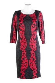 Frank Lyman Hourglass Block Pattern Black & Red Dress - Front cropped