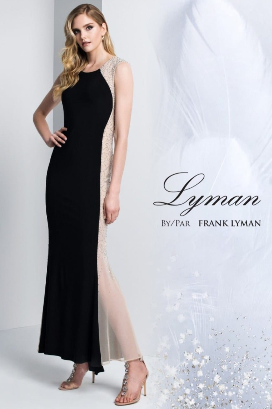 Frank Lyman Hourglass Illusion Dress, Black/Nude - Front Cropped Image