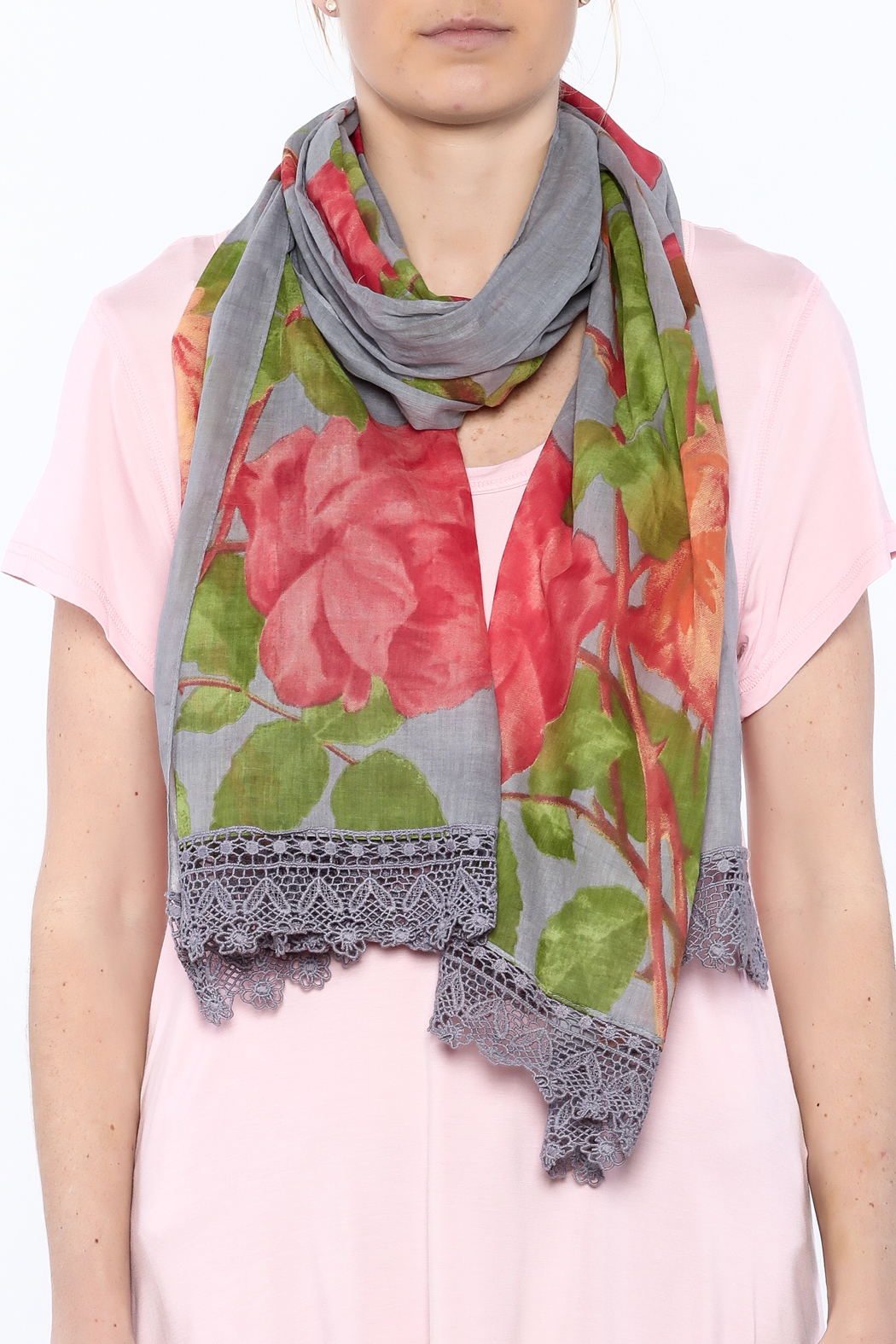 House of Disaster Bloom Rose Scarf - Back Cropped Image