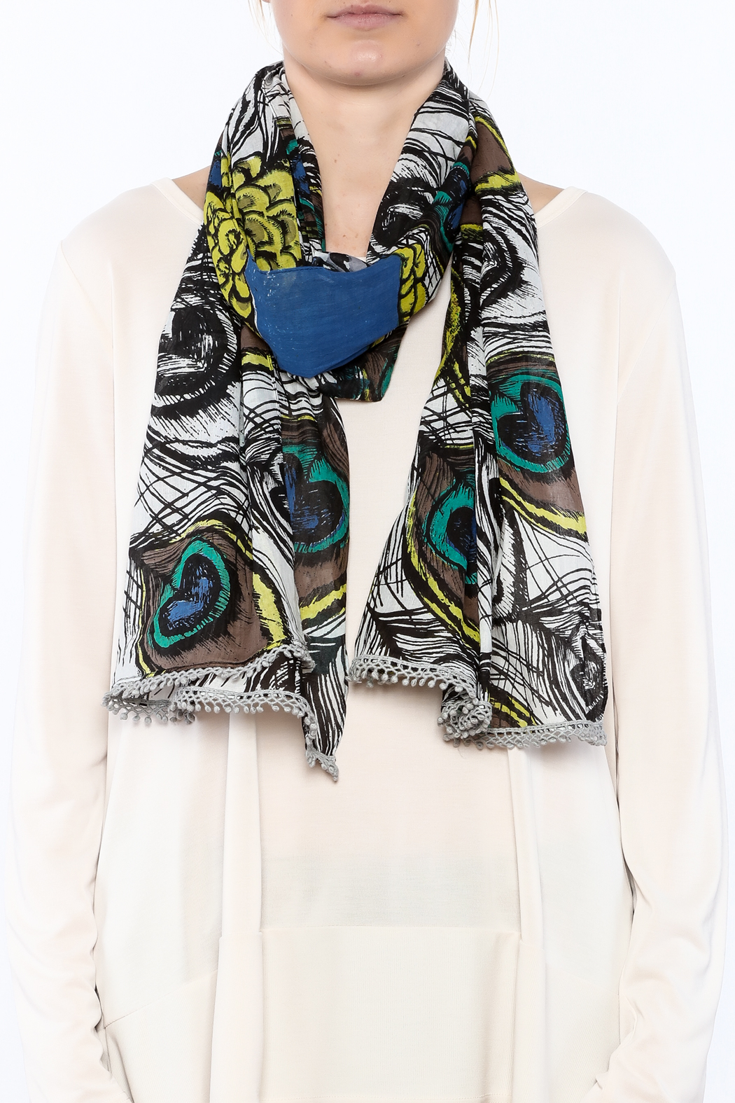 House of Disaster Peacock Feather Print Scarf - Back Cropped Image