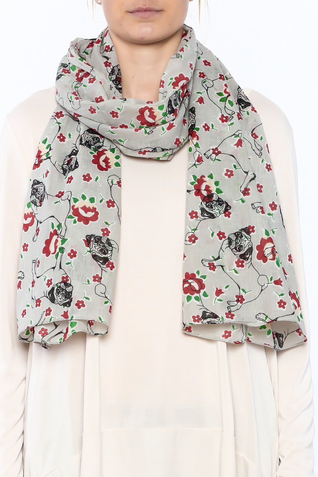 House of Disaster Grey Pug Scarf - Back Cropped Image