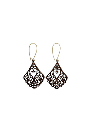 House and Garden Boutique Brown Filigree Earrings - Product Mini Image