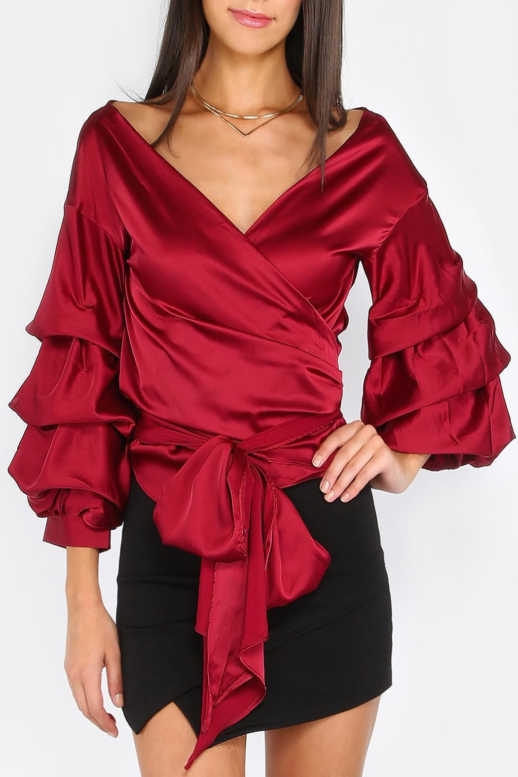 House of Atelier Billow Sleeve Wrap Top - Main Image