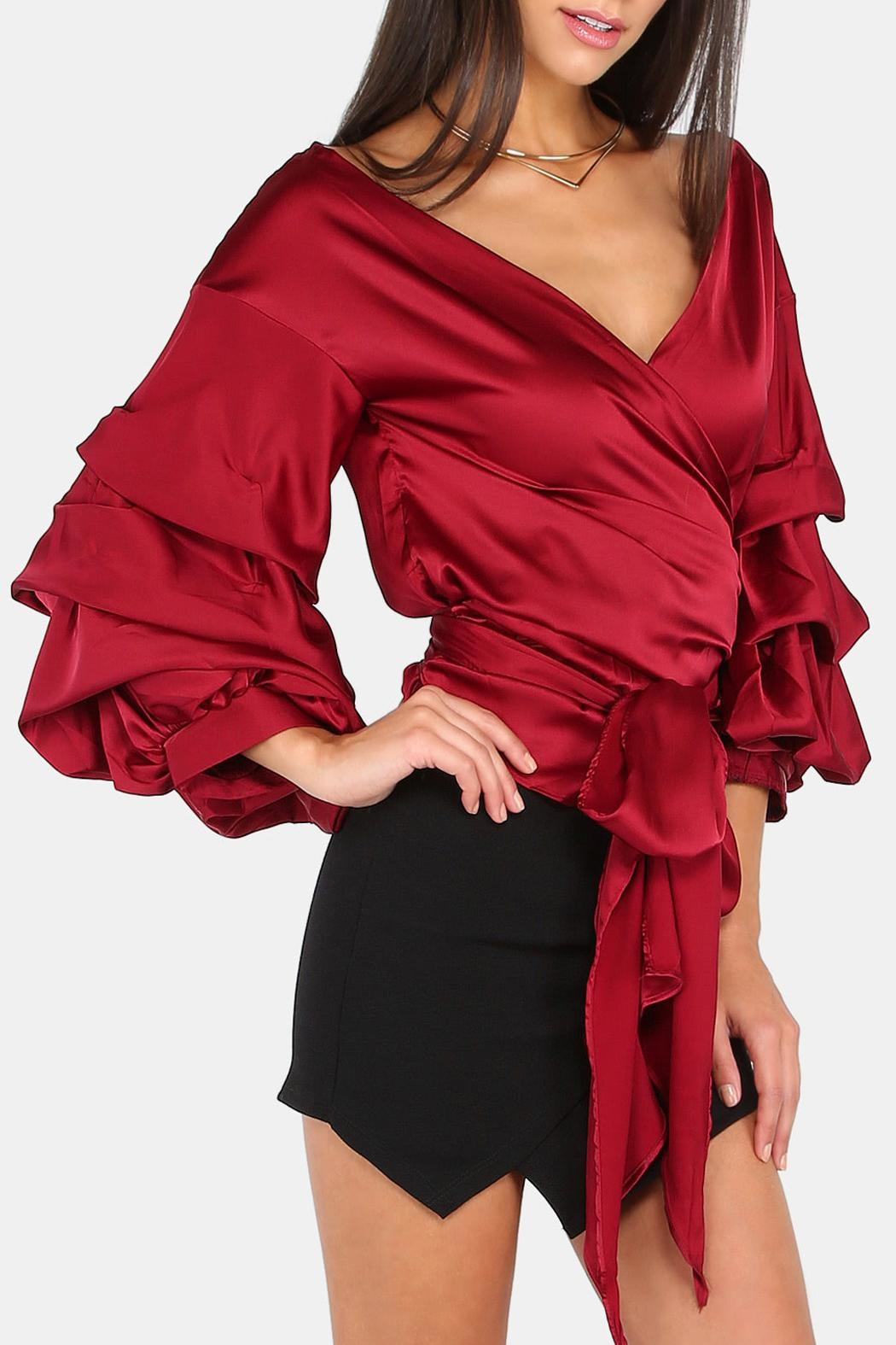 House of Atelier Billow Sleeve Wrap Top - Front Full Image