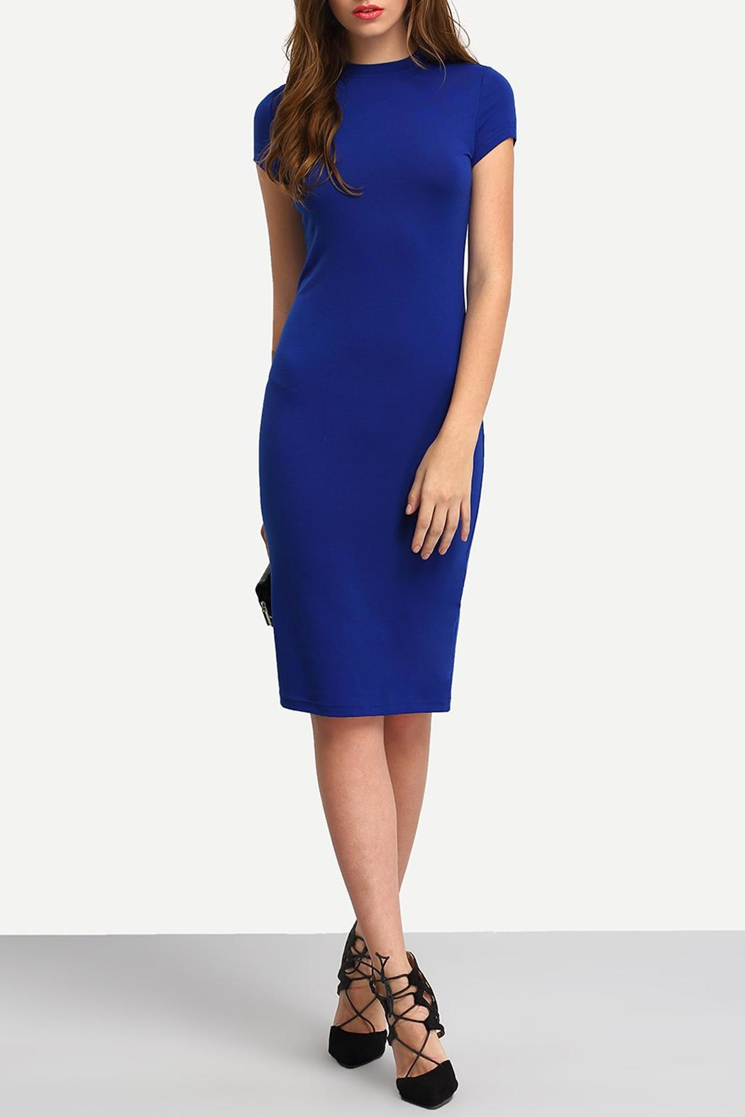 House of Atelier Blue Bodycon Dress - Back Cropped Image