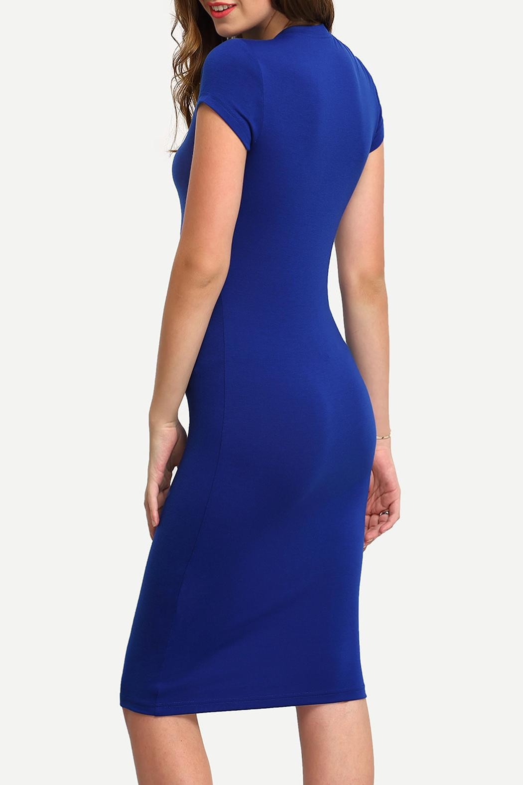 House of Atelier Blue Bodycon Dress - Front Full Image