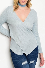 Check it Out Plus Blue Wrap Sweater - Product Mini Image