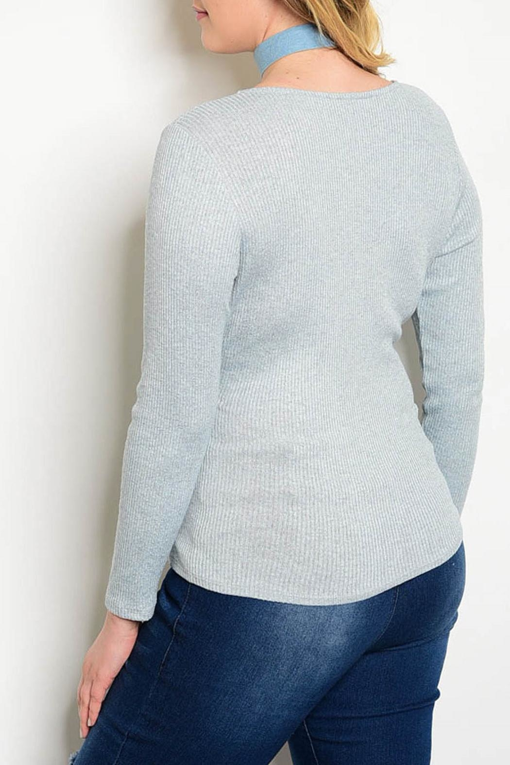 Check it Out Plus Blue Wrap Sweater from Montclair by Atelier ...