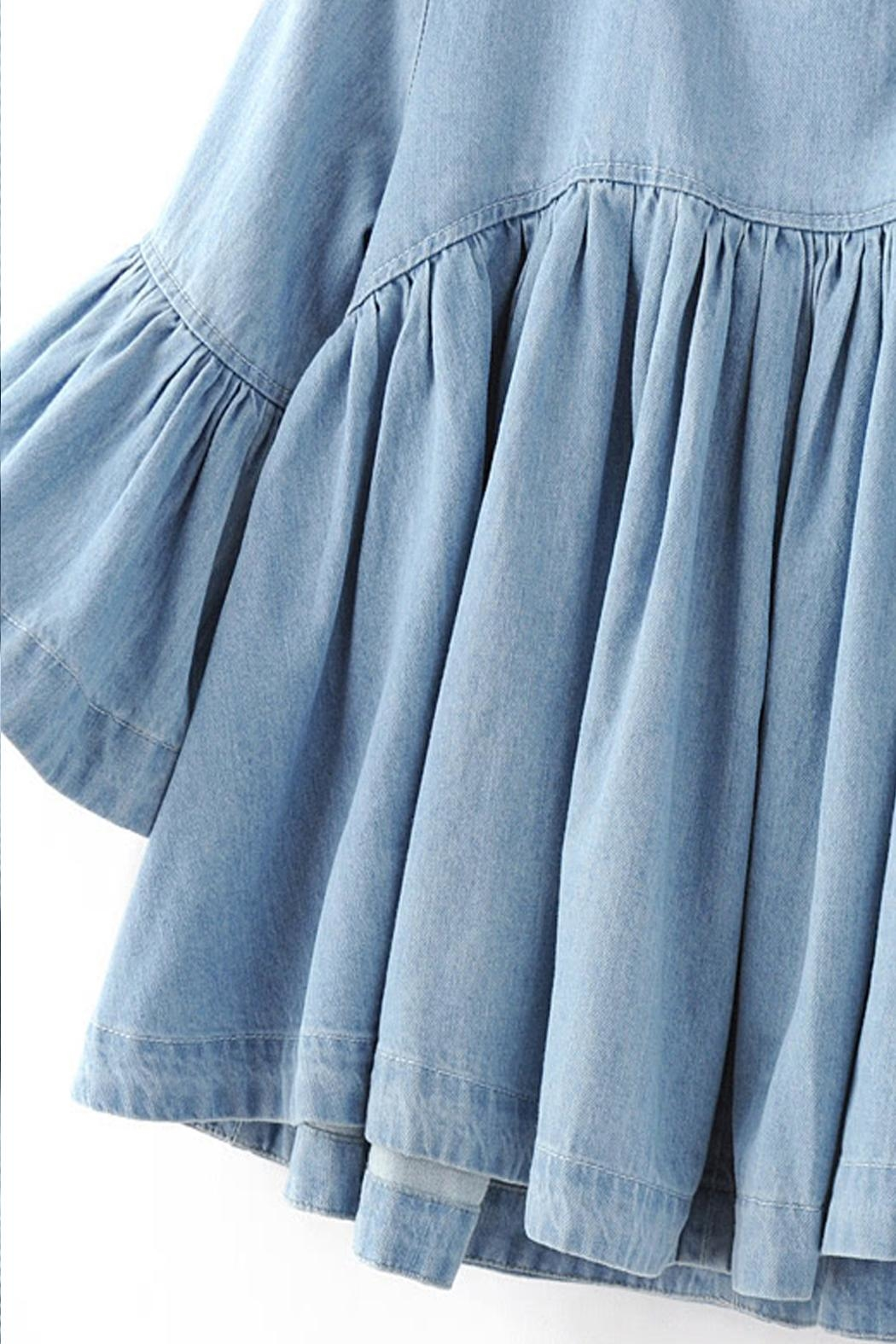 House of Atelier Denim Babydoll Blouse - Back Cropped Image