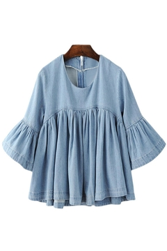 House of Atelier Denim Babydoll Blouse - Product List Image