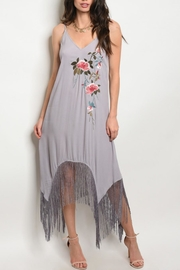 Mustard Seed Grey Floral Dress - Product Mini Image