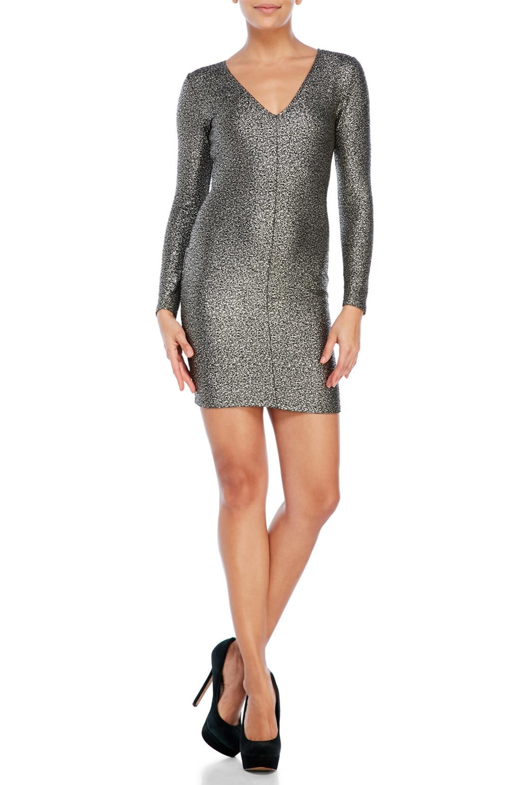 House of Atelier Metallic Bodycon Dress - Front Cropped Image