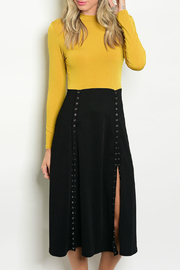 House of Atelier Mustard Snap Dress - Front cropped