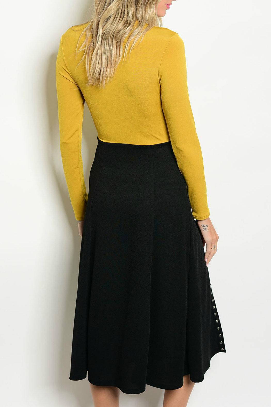 House of Atelier Mustard Snap Dress - Back Cropped Image
