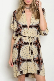 House of Atelier Plungeneck Print Dress - Front cropped