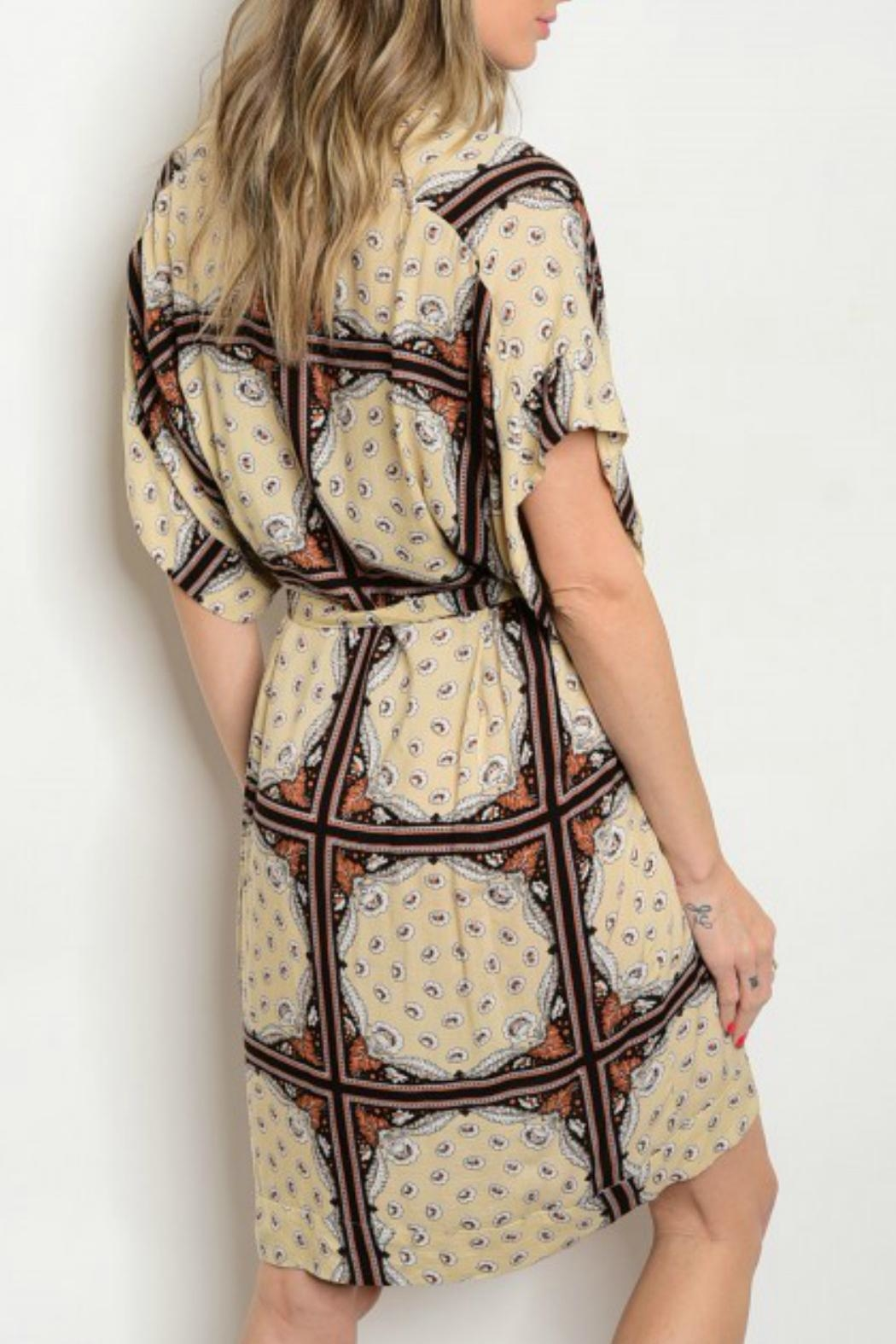 House of Atelier Plungeneck Print Dress - Front Full Image