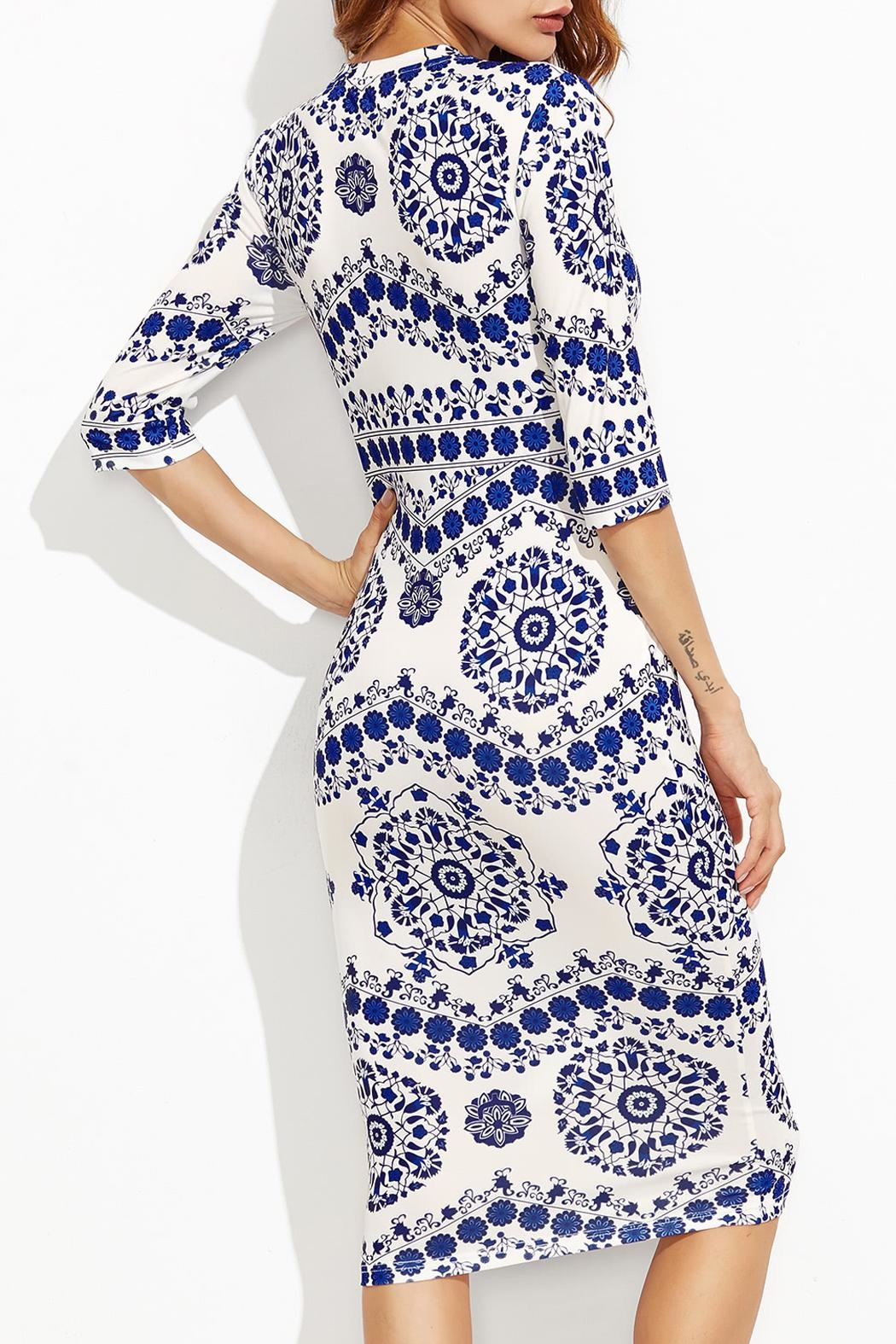 House of Atelier Porcelain Print Dress - Front Full Image