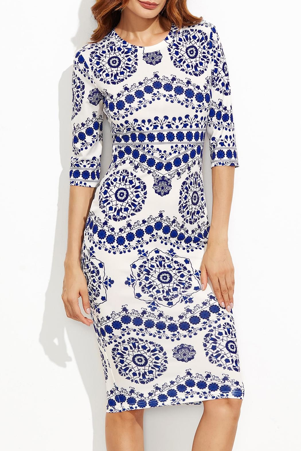 House of Atelier Porcelain Print Dress - Front Cropped Image