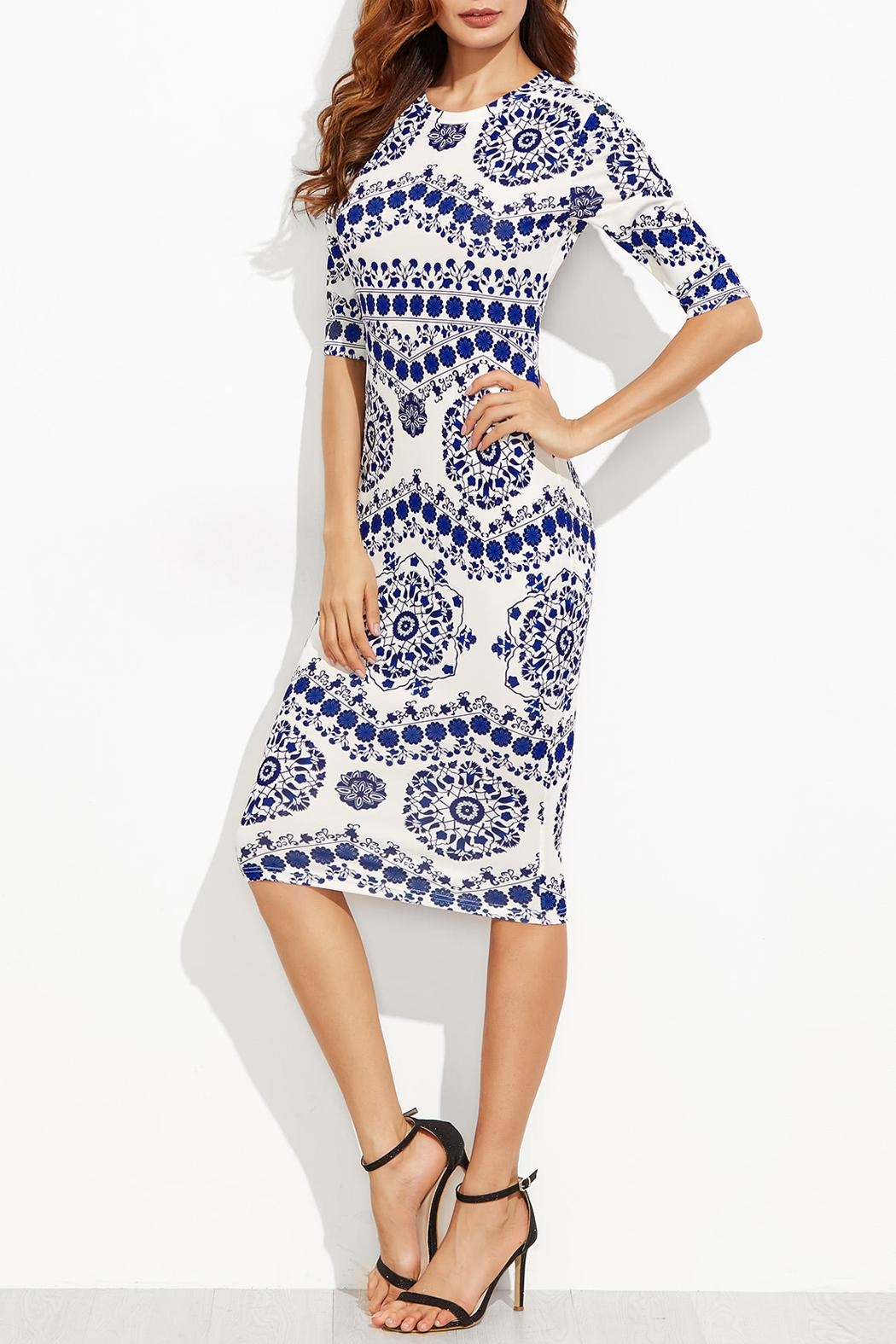 House of Atelier Porcelain Print Dress - Side Cropped Image