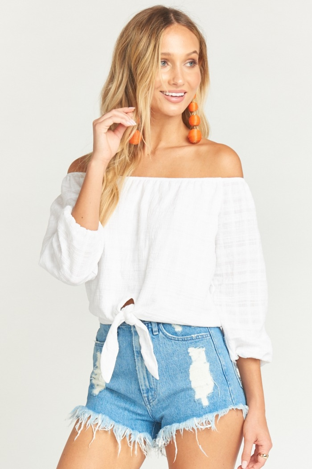 Show Me Your Mumu Houston High Waisted Shorts in Tide - Front Full Image