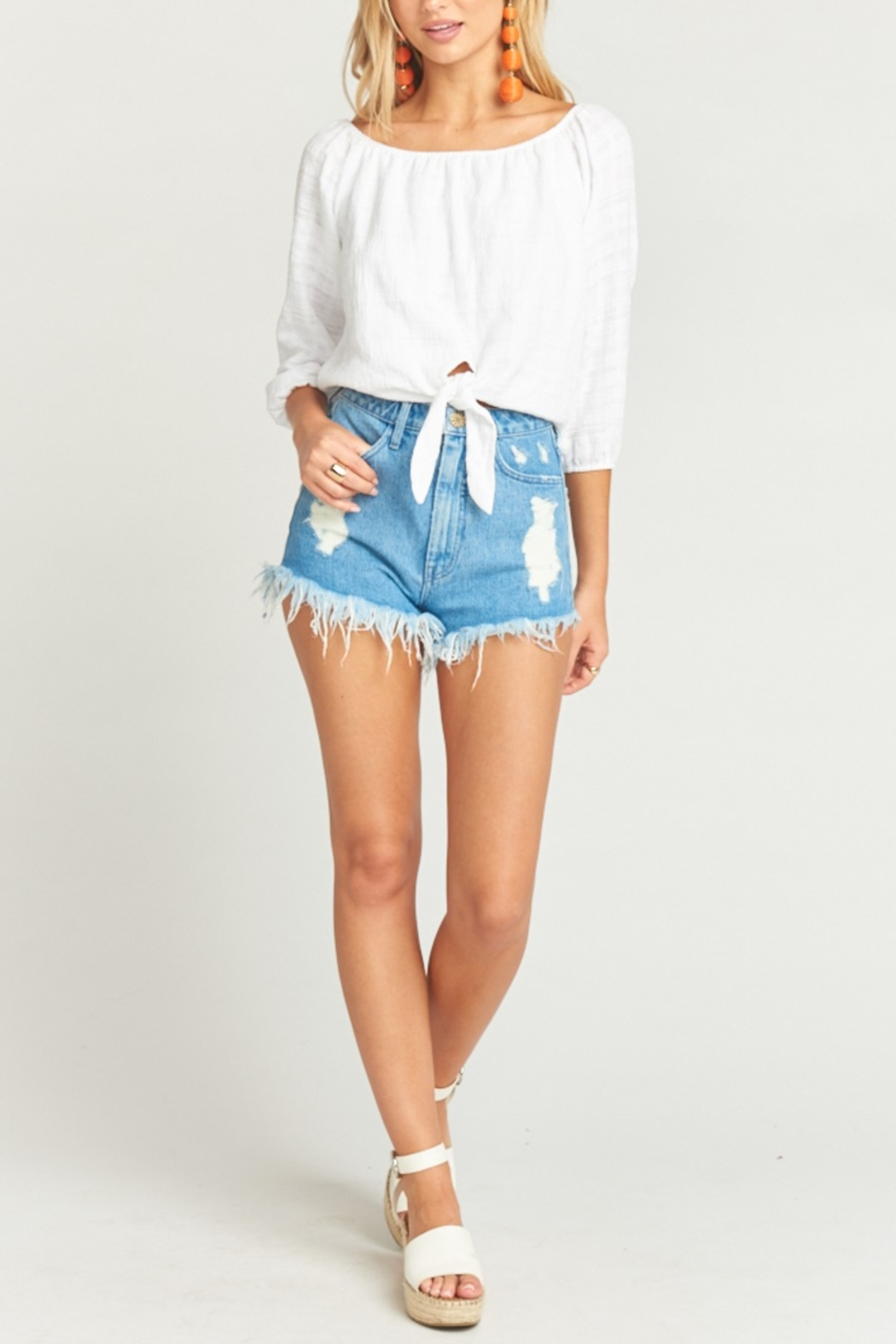 Show Me Your Mumu Houston High Waisted Shorts in Tide - Front Cropped Image