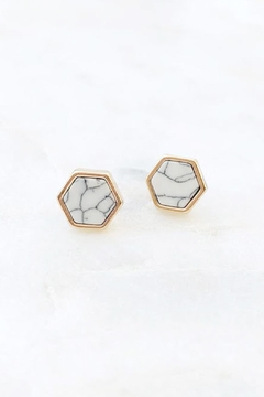 Wild Lilies Jewelry  Howlite Hexagon Studs - Product List Image