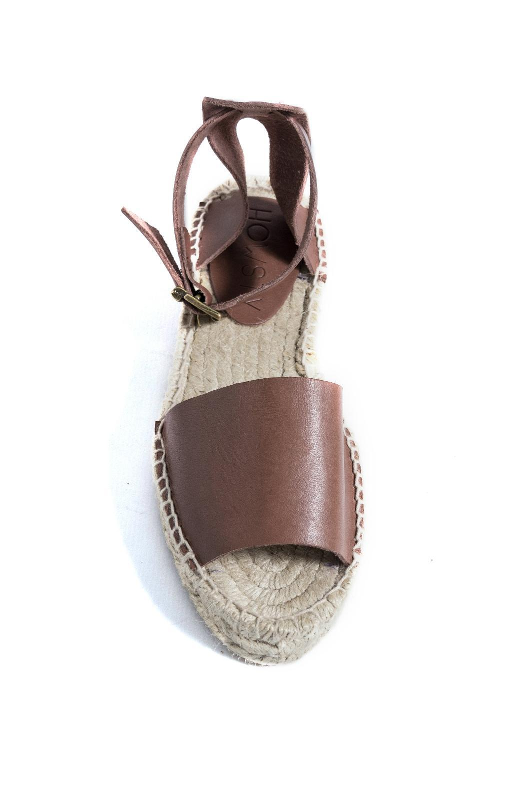 Howsty Brown Leather Espadrille - Side Cropped Image