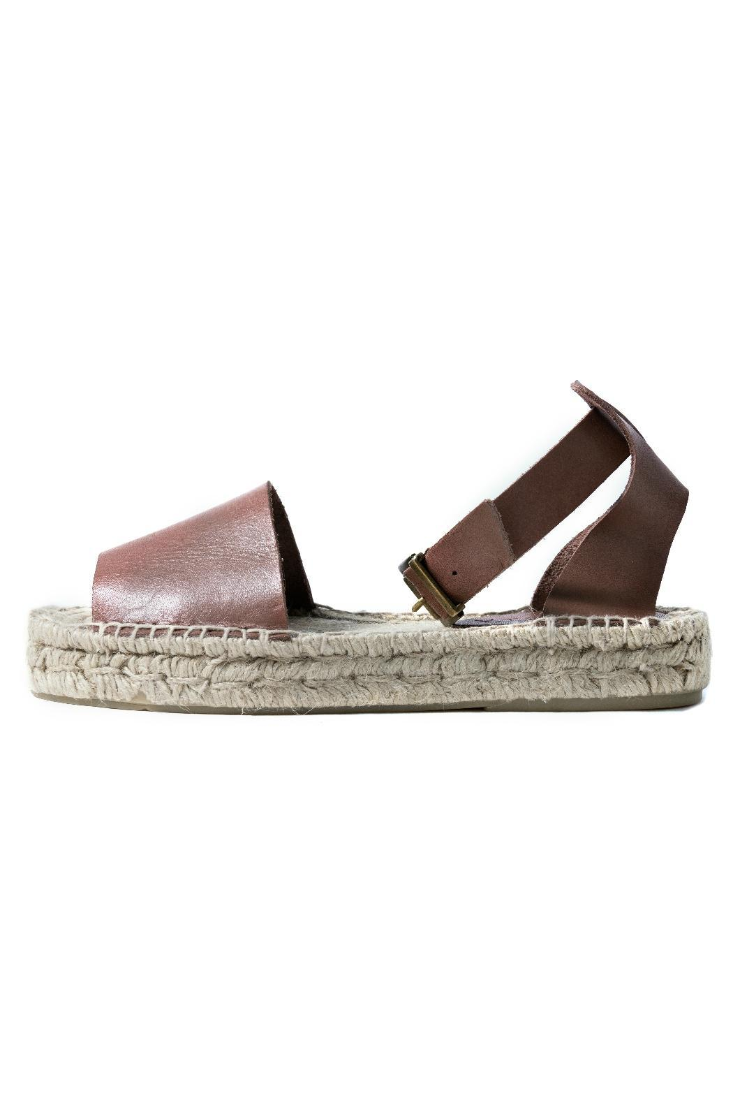 Howsty Brown Leather Espadrille - Main Image