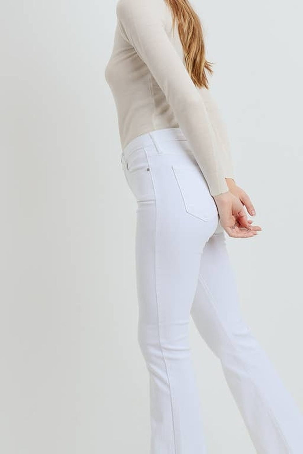 Just Black Denim White High Rise Frayed Hem Flare - Back Cropped Image
