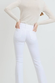 Just Black Denim White High Rise Frayed Hem Flare - Side cropped