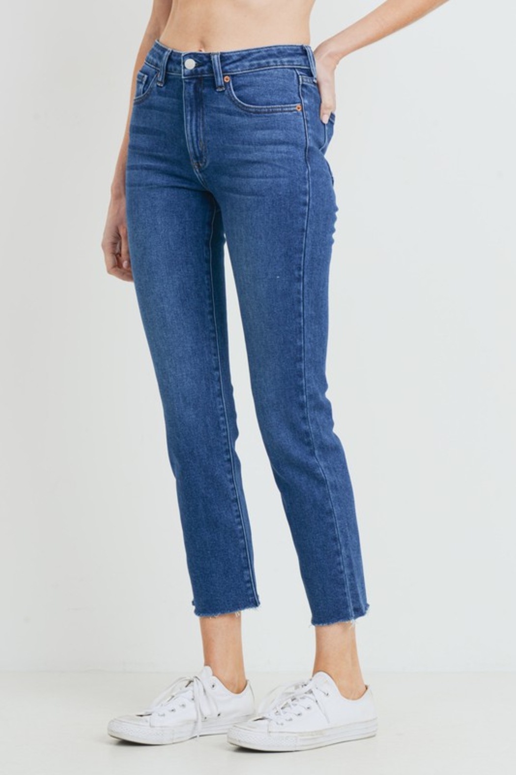 just black HR Relaxed Fray Skinny - Front Full Image