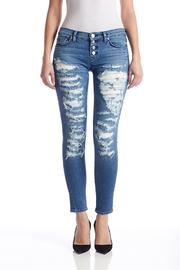 Hudson Distressed Blue Jeans - Front cropped