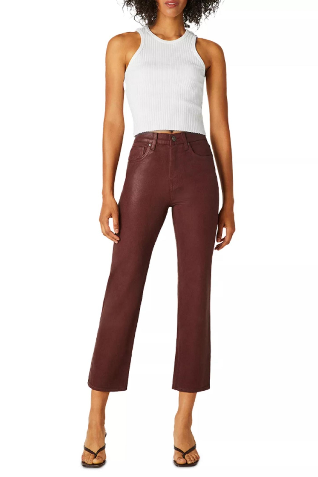 Hudson s Remi High Rise Coated Denim Crop - Front Cropped Image