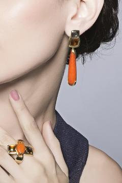 Balangandãs Orange Dangle Earrings - Alternate List Image