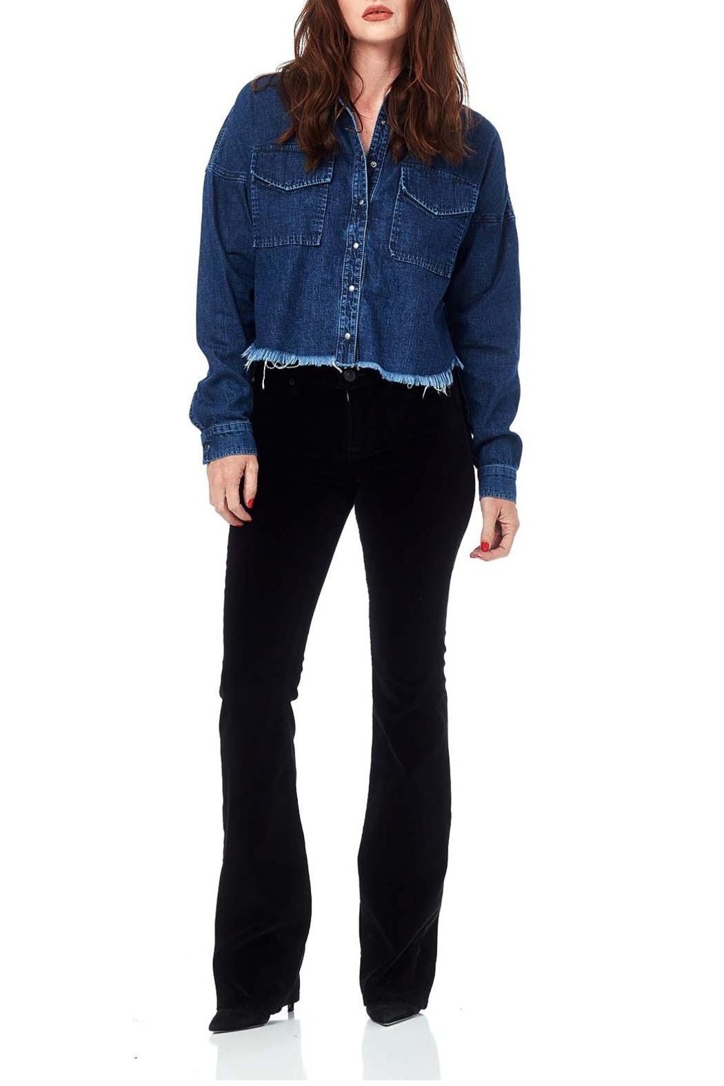 Hudson Jeans Black Velvet Midrise-Bootcut - Front Cropped Image
