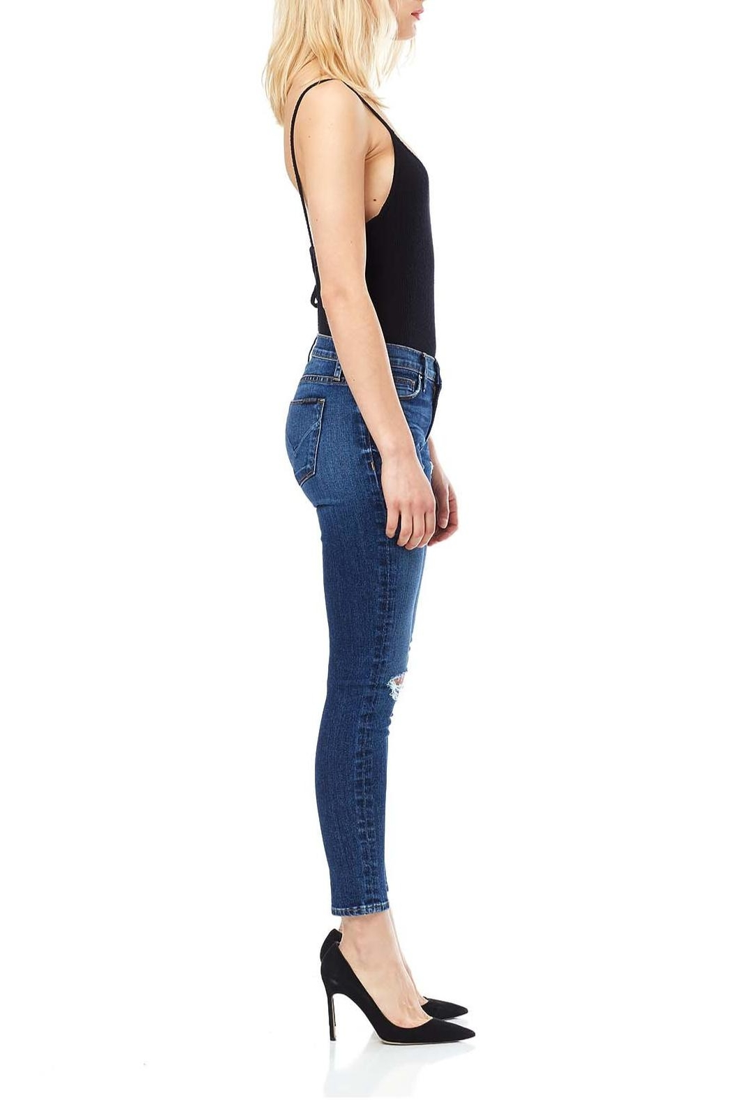Hudson Jeans Ripped Knee Mid Jeans - Front Full Image