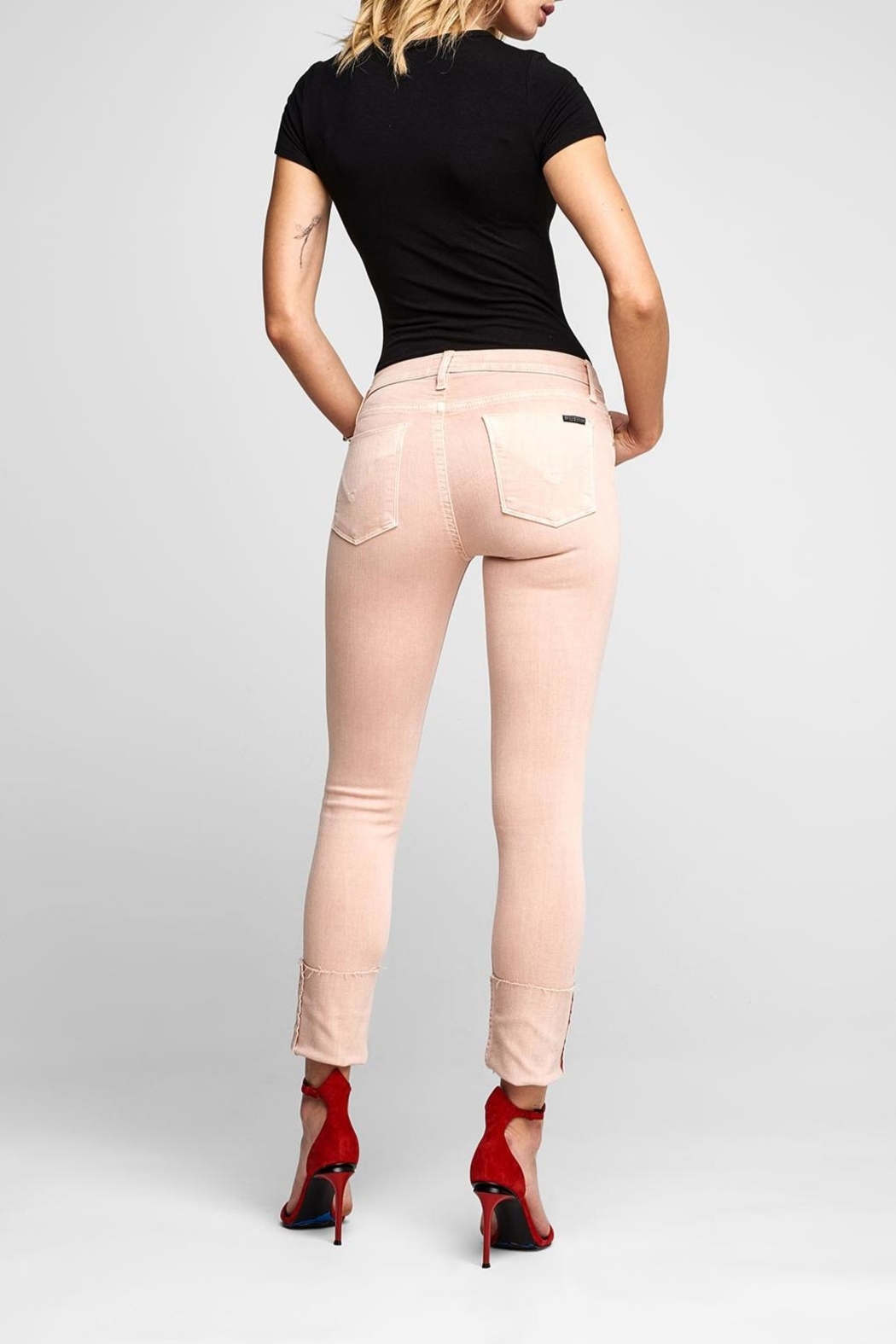 Hudson Jeans Tally Crop Worn-Rosewater - Side Cropped Image
