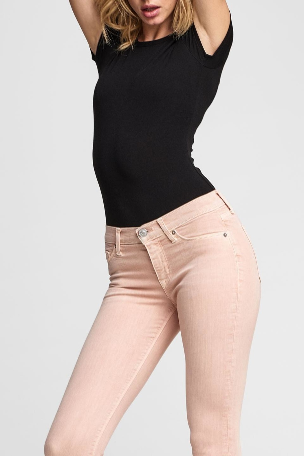 Hudson Jeans Tally Crop Worn-Rosewater - Back Cropped Image