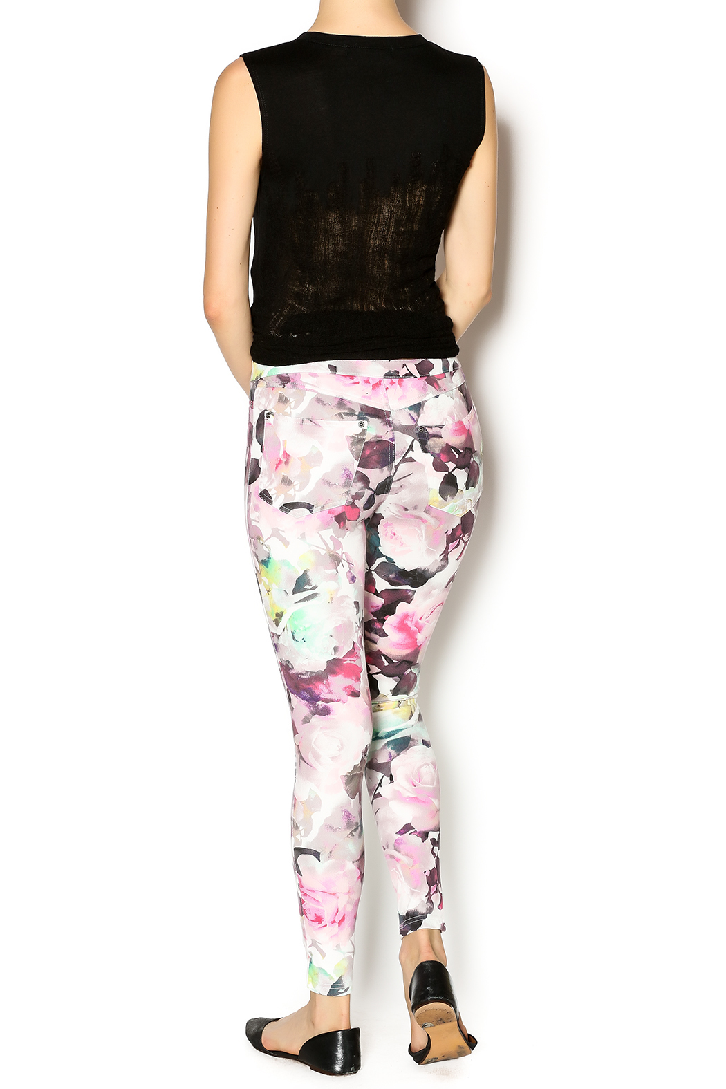 HUE Floral Print Jegging - Side Cropped Image