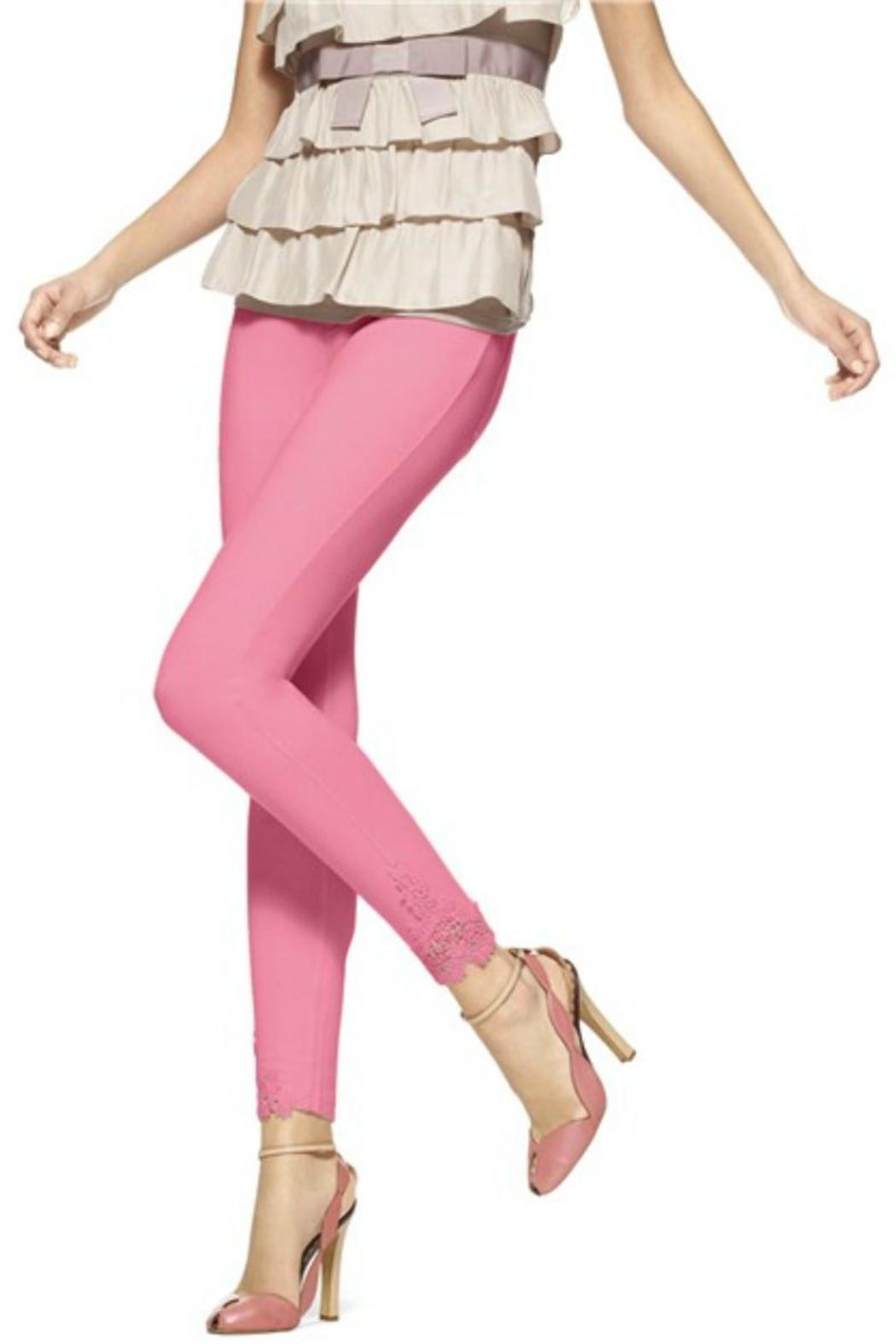 HUE Lace Trim Legging - Front Cropped Image