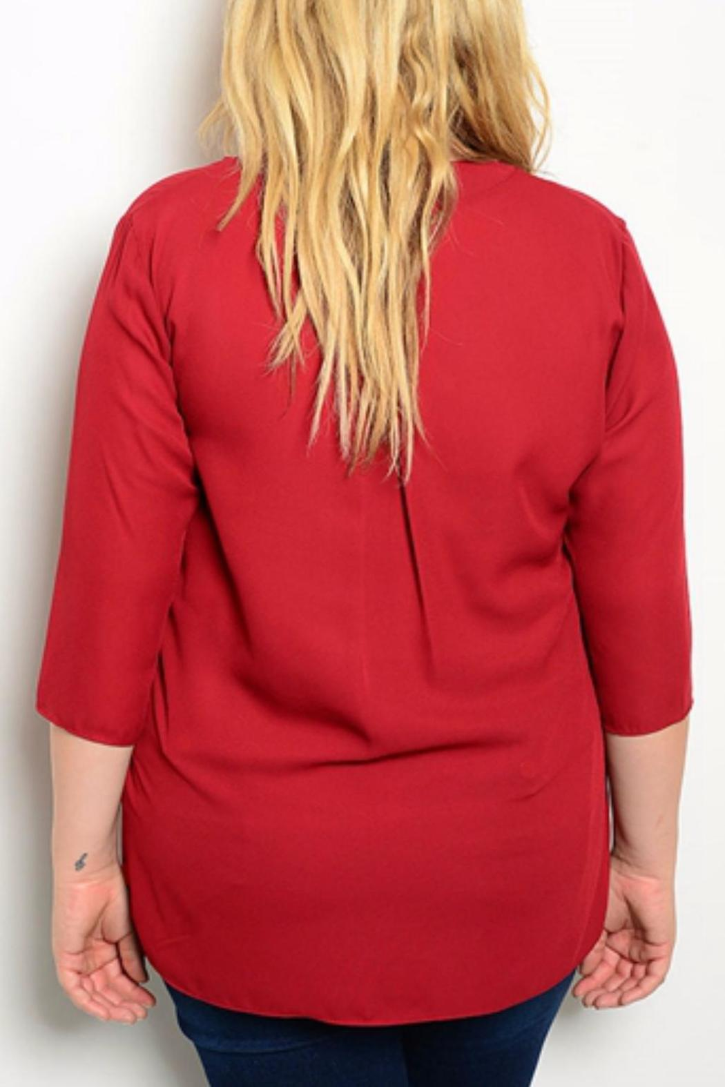 Hug+ Plus Size Wine Blouse - Front Full Image