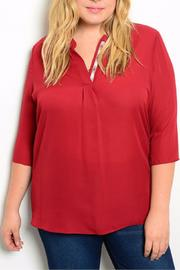 Hug+ Plus Size Wine Blouse - Front cropped