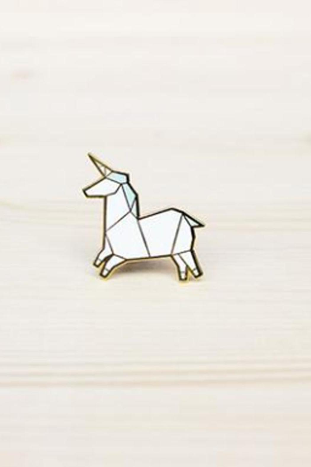 Hug A Porcupine Origami Unicorn Brooch - Front Cropped Image