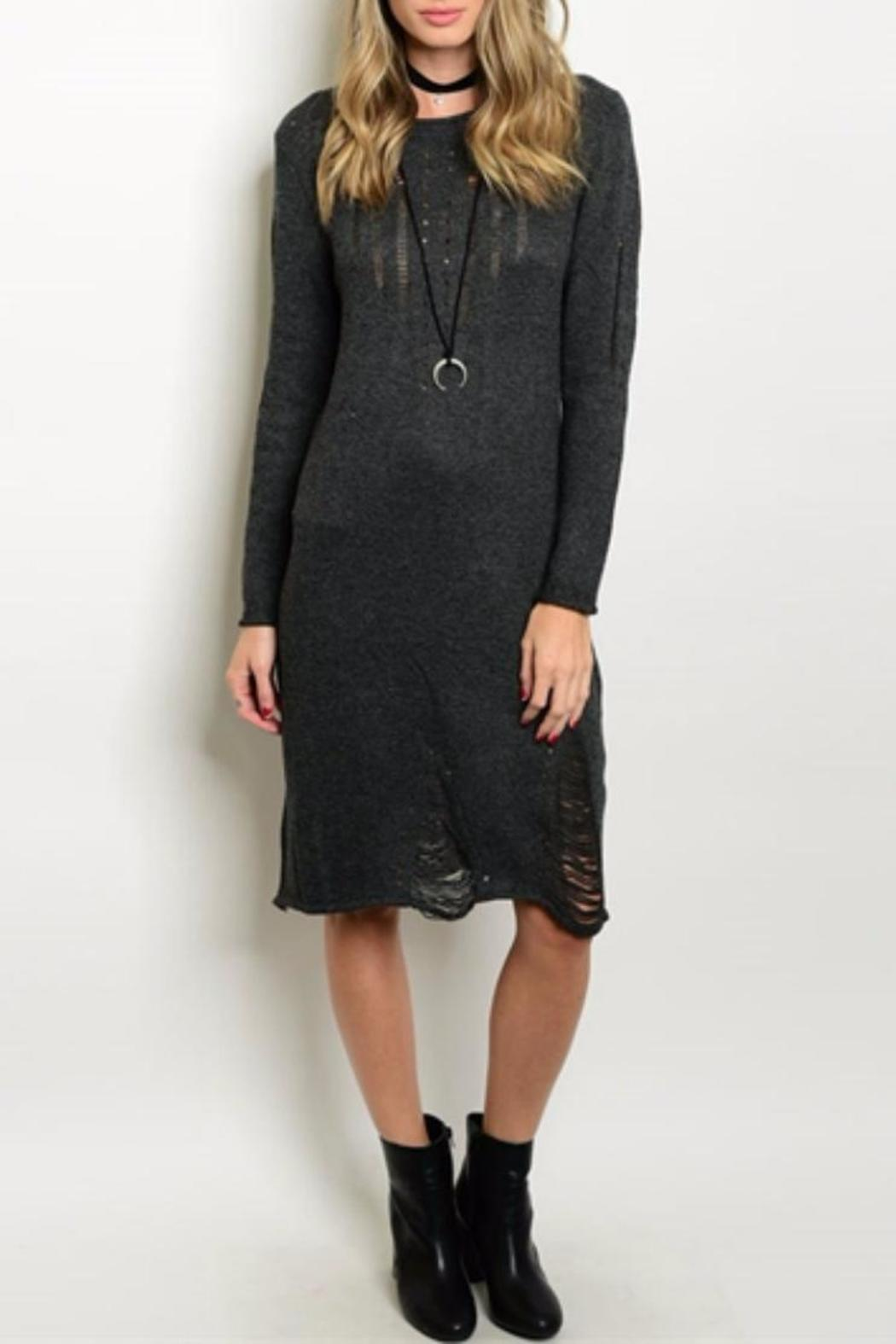 S-Twelve Gray Sweater Dress - Front Cropped Image